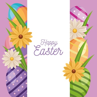 Happy easter greeting card with eggs painted and flowers frame