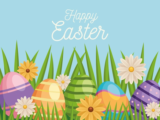Happy easter greeting card with eggs painted and flowers in garden