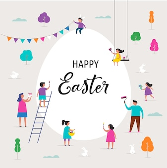 Happy easter greeting card with families and kids