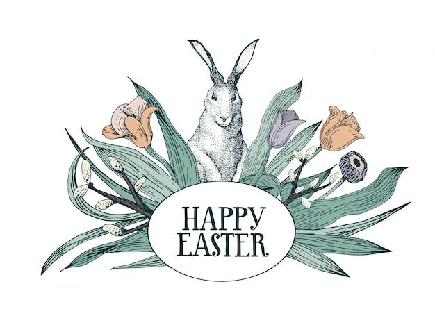 Пасхальная открытка с цветами и кроликом