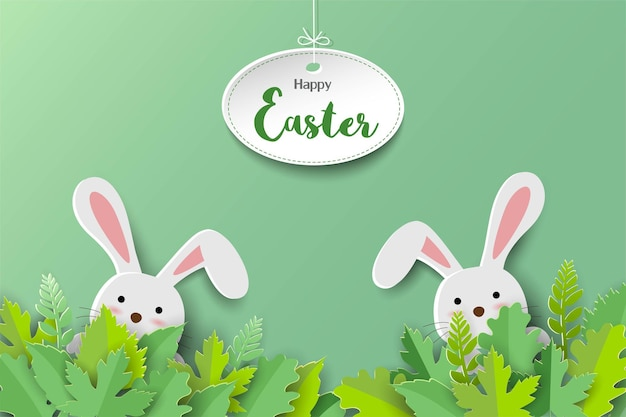Happy easter greeting card with paper art style, cute rabbit and leaves