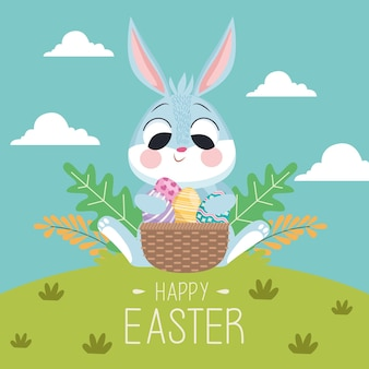 Happy easter greeting card with rabbit and eggs in basket in the landscape