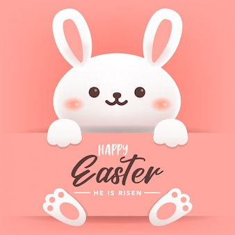 Happy Easter Greeting Card with Rabbit Illustration