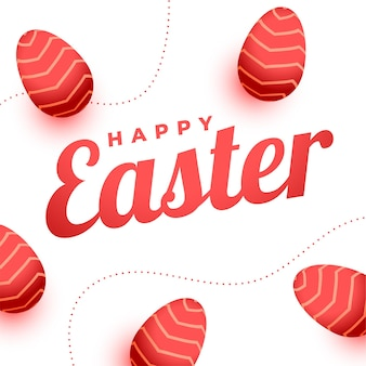 Поздравительная открытка счастливой пасхи с украшением из красных яиц