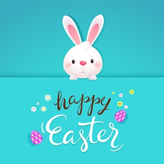 Happy easter greeting card with white rabbit and eggs