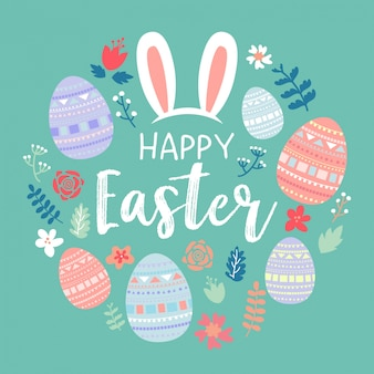 Easter eggs with butterflies background vector free download happy easter greeting card m4hsunfo