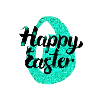 Happy easter greeting inscription. vector illustration of spring holiday postcard with lettering.