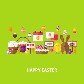 Happy easter greeting postcard. flat design vector illustration. spring holiday poster.