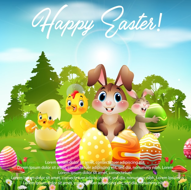 Happy easter greeting poster