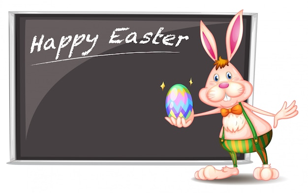 A happy easter greeting with a bunny beside a gray board