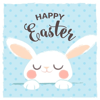 Happy easter greeting with cute rabbit