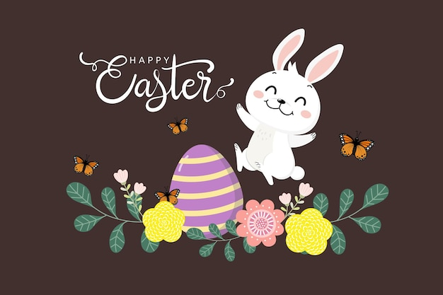Happy easter greeting  with cute white bunny and eggs