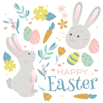 Happy easter greeting with drawn elements