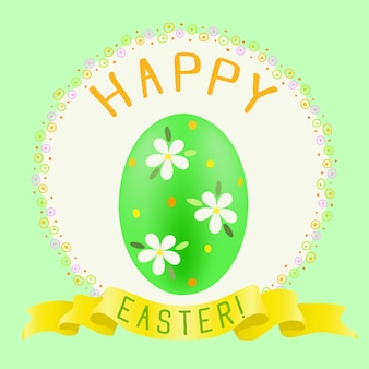 Happy easter greeting with green painted egg and golden ribbon