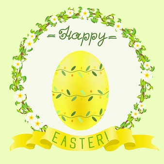 Happy easter greeting with yellow painted egg and golden ribbon