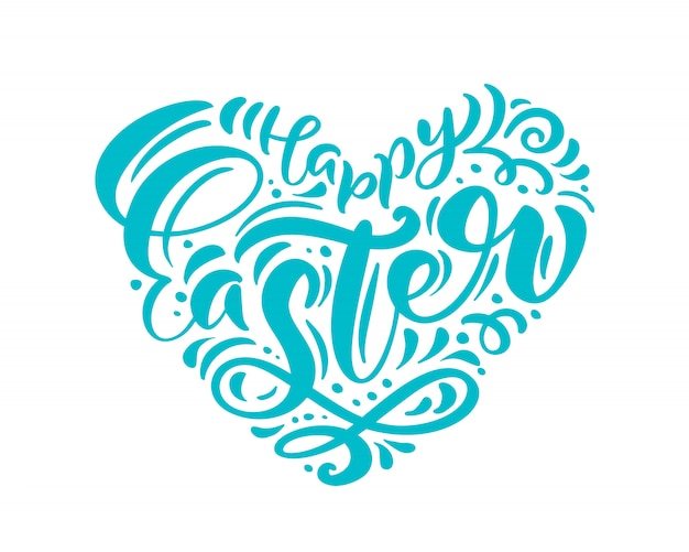 Happy easter hand drawn calligraphy and brush pen lettering in form of heart