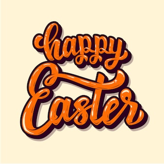 Happy easter. hand drawn lettering phrase.  elements for poster, greeting card.  illustration