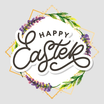 Happy easter hand lettering and floral wreath