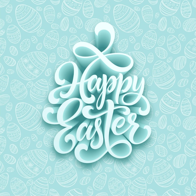 Happy easter handwritten lettering. holiday calligraphy.