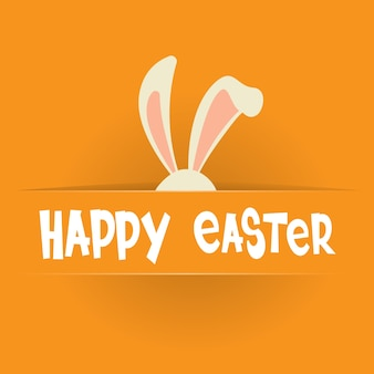 Happy easter holiday banner greeting card orange background