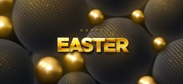 Happy easter holiday banner with black and golden spheres