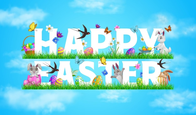 Happy easter holiday banner with rabbits playing on meadow grass