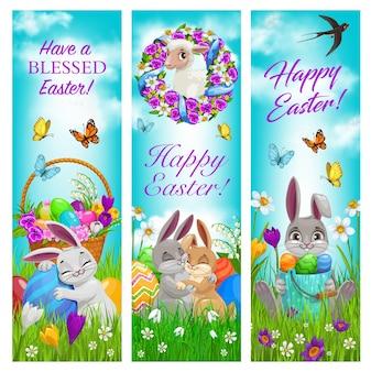 Счастливой пасхи праздник празднования баннеры