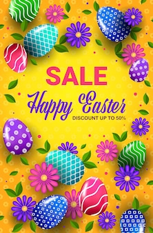 Happy easter holiday celebration sale banner flyer or greeting card with decorative eggs and flowers vertical illustration