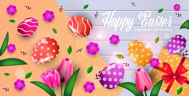 Happy easter holiday celebration sale banner flyer or greeting card with decorative eggs and flowers