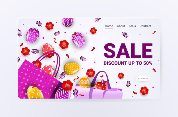 Happy easter holiday celebration sale banner flyer or greeting card with decorative eggs flowers