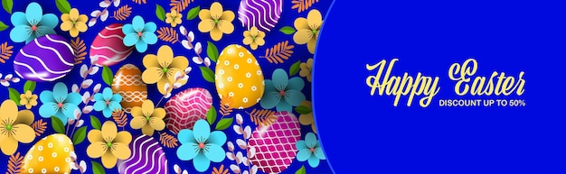Happy easter holiday celebration sale banner flyer or greeting card with decorative eggs horizontal illustration