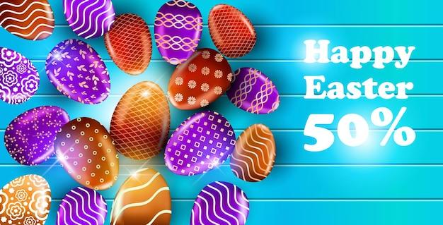 Счастливой пасхи праздник праздник распродажа баннер флаер или поздравительная открытка с декоративными яйцами горизонтальная иллюстрация
