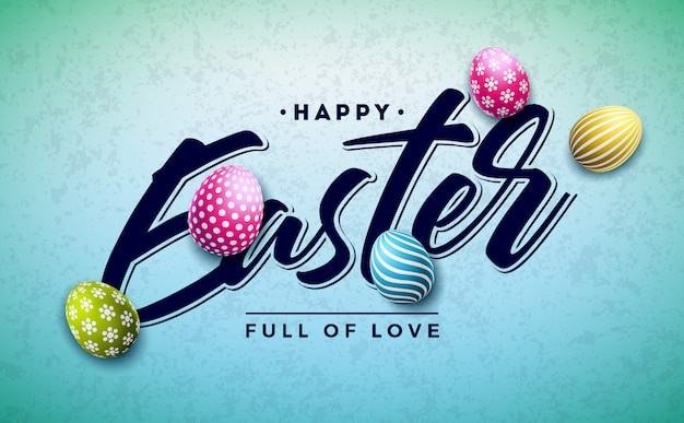 Happy easter holiday design with colorful painted egg