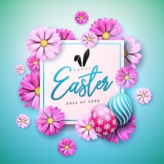 계란과 꽃으로 행복한 부활절 휴가 디자인