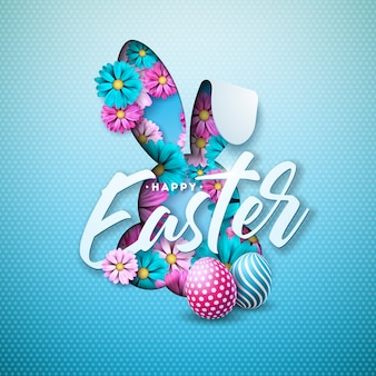 Happy easter holiday design with egg and flower