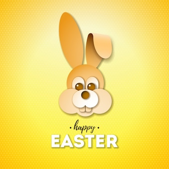 素敵なウサギの顔とハッピーイースターの休日デザイン Premiumベクター