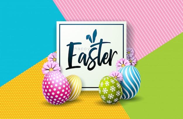 С праздником пасхи, дизайн с расписным яйцом и цветком