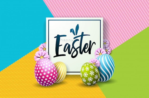 Happy easter holiday design with painted egg and flower