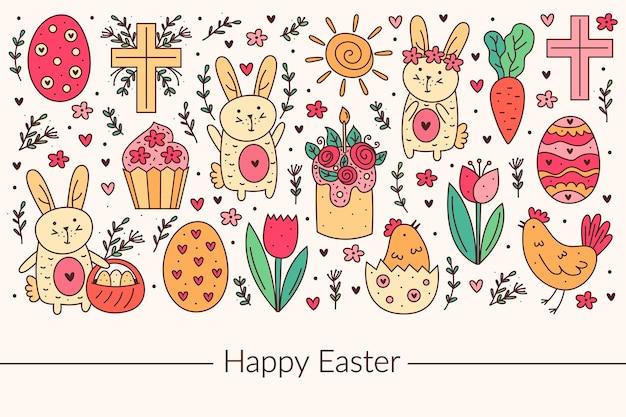 ハッピーイースターホリデー落書き線画デザイン。ウサギ、バニー、クリスチャンクロス、ケーキ、カップケーキ、チキン、卵、鶏、花、ニンジン、太陽。背景に分離されています。