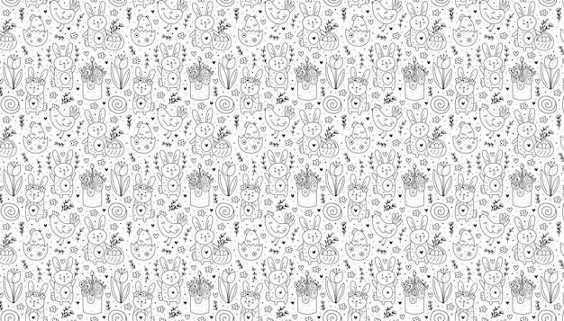 행복한 부활절 휴가 낙서 흑백 라인 아트 토끼 토끼 케이크 닭고기 달걀 암탉 꽃