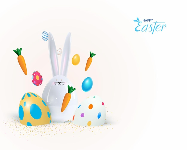 Happy easter holiday. festive design with 3d bunny.