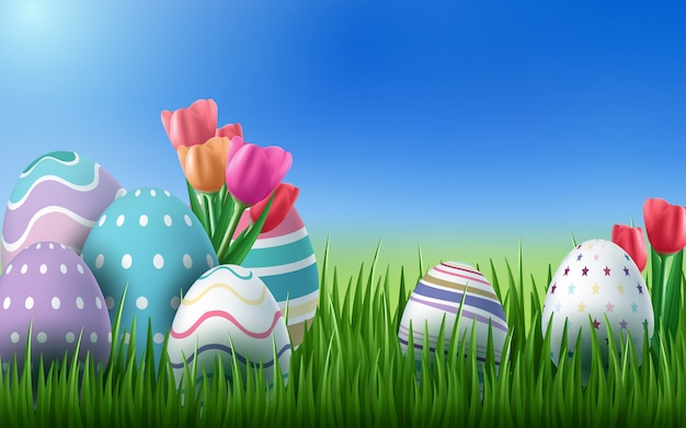 Of happy easter holiday with painted egg, rabbit ears and flower