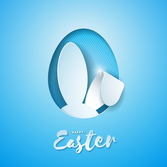 Happy easter holiday with rabbit ears in cutting egg