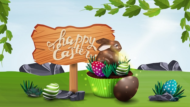 Happy easter, horizontal vector illustration with wooden pointer