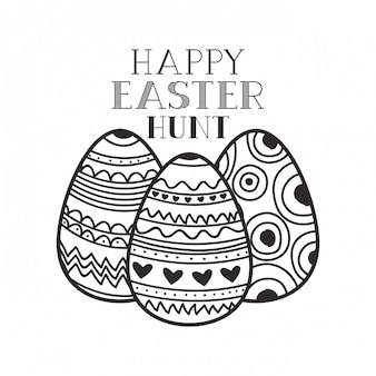 Happy easter hunt label isolated icon