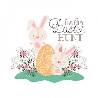 Счастливой пасхальной охоты этикетка с яйцом и цветами значок