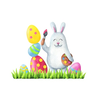Happy easter. illustration in children's style white rabbit paints eggs on the grass