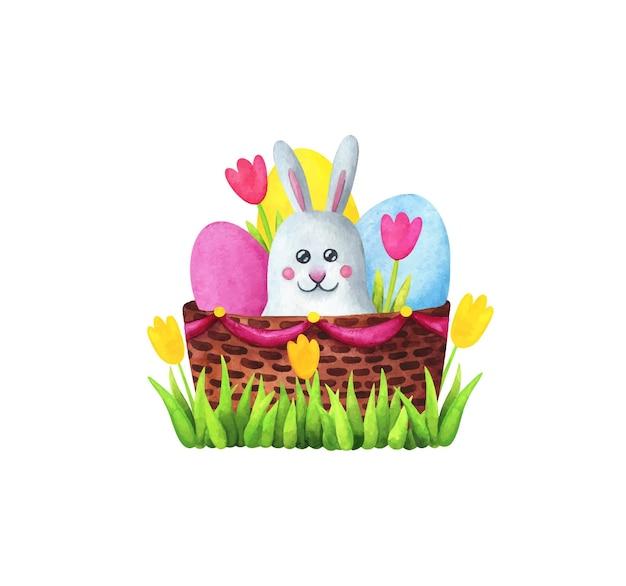 イースター、おめでとう。色付きの卵とバスケットに座っている子供のスタイルの白いウサギのイラスト