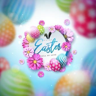カラフルな塗装卵と春の花のハッピーイースターイラスト