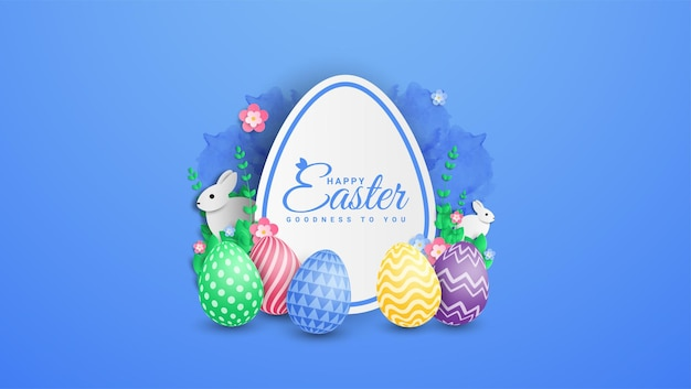 Happy easter illustration with colorful painted egg and rabbit.